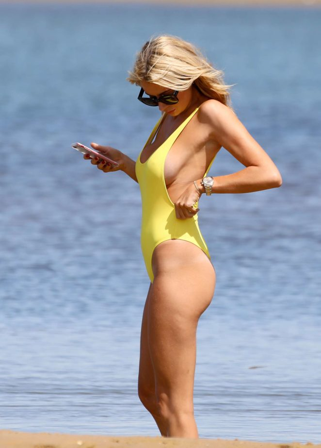Olivia Attwood in Yellow Swimsuit in Portugal