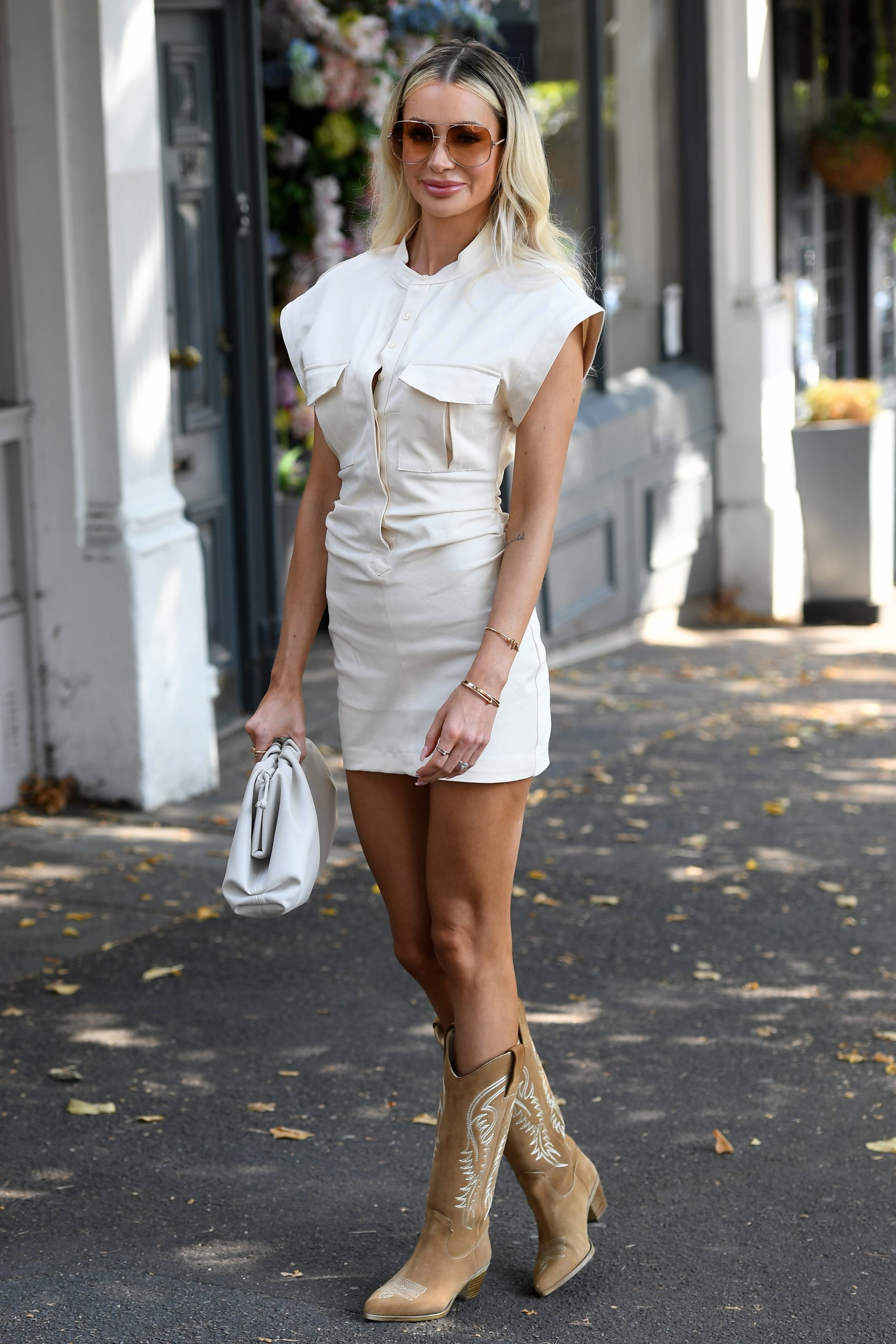 Olivia Attwood 2020 : Olivia Attwood – Leggy in white dress while out in London-06