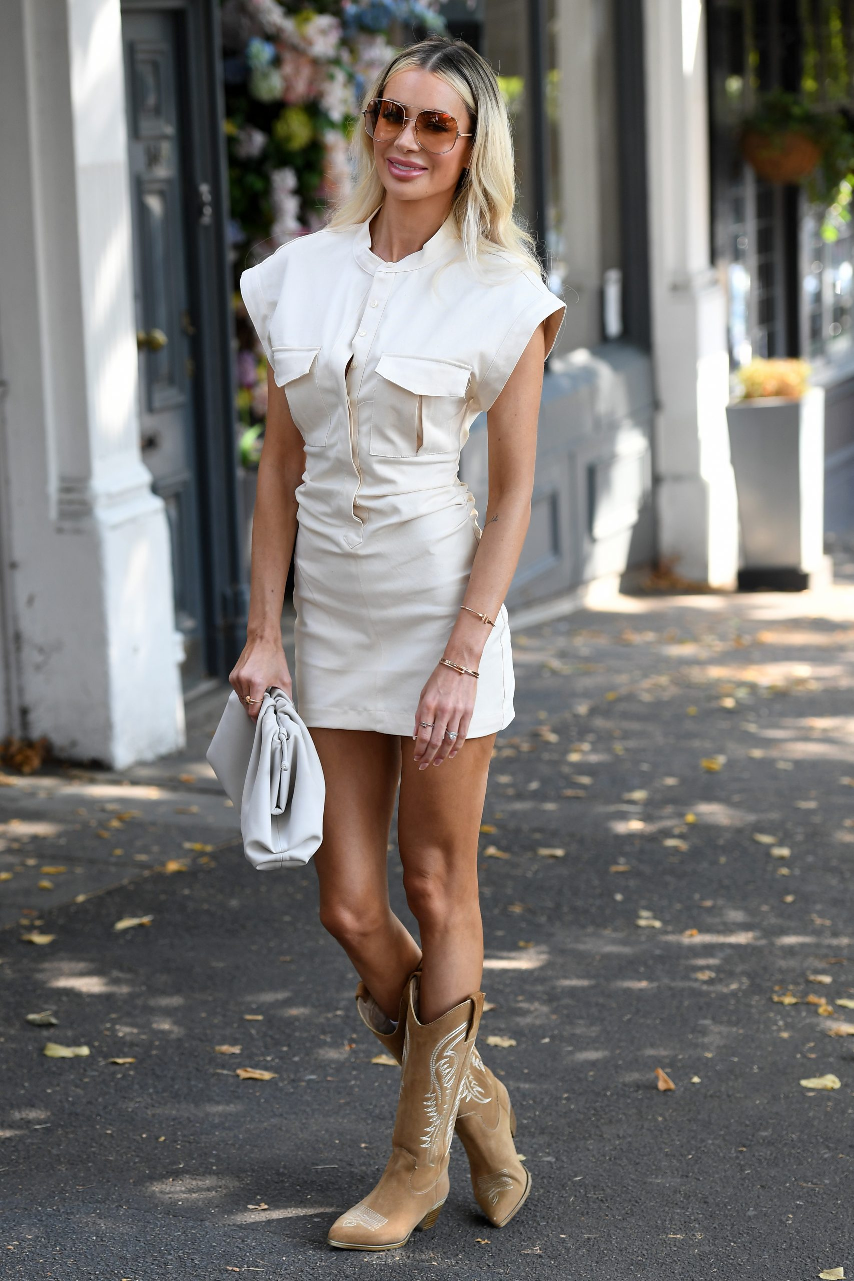 Olivia Attwood 2020 : Olivia Attwood – Leggy in white dress while out in London-09