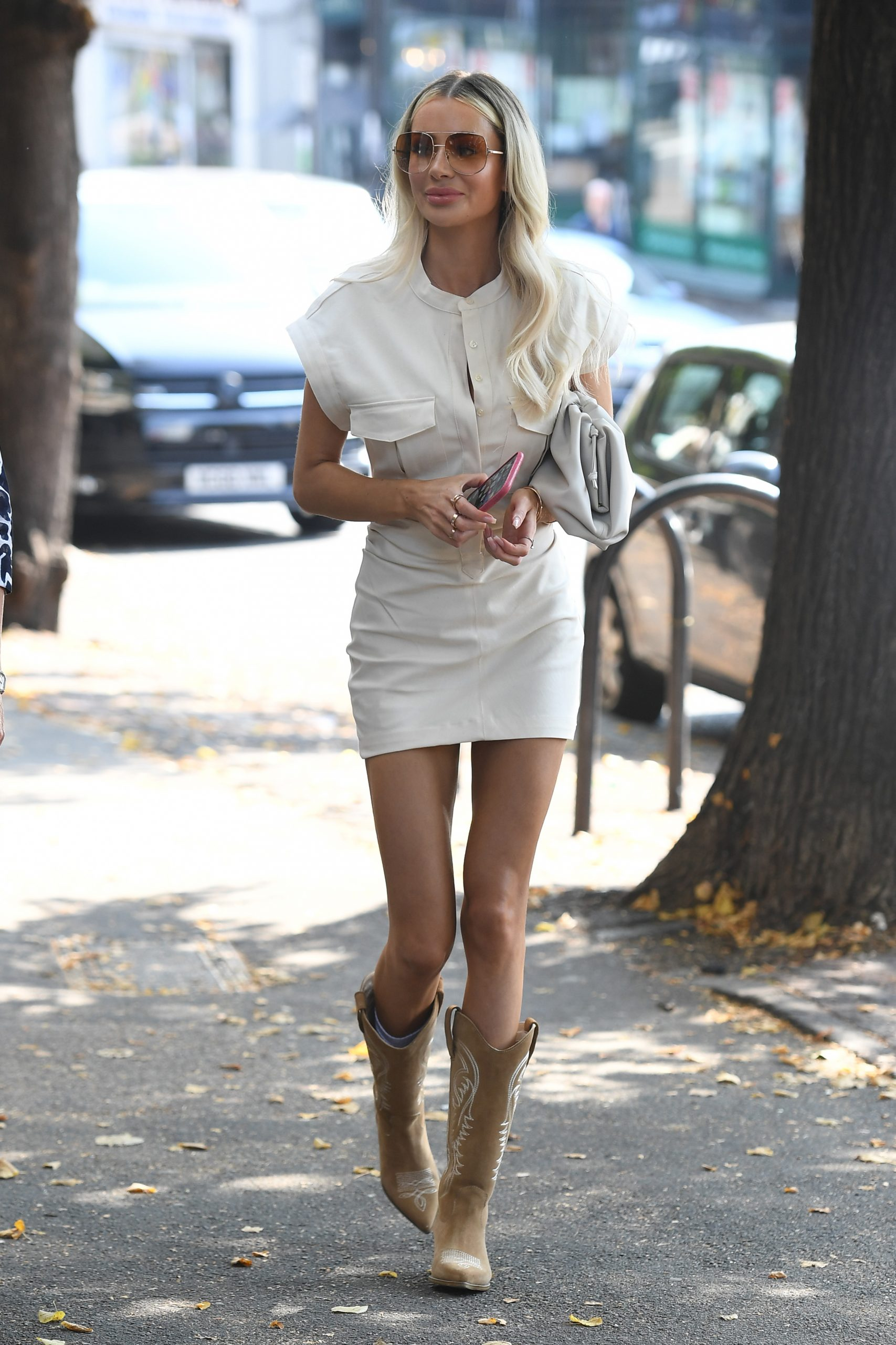 Olivia Attwood 2020 : Olivia Attwood – Leggy in white dress while out in London-14