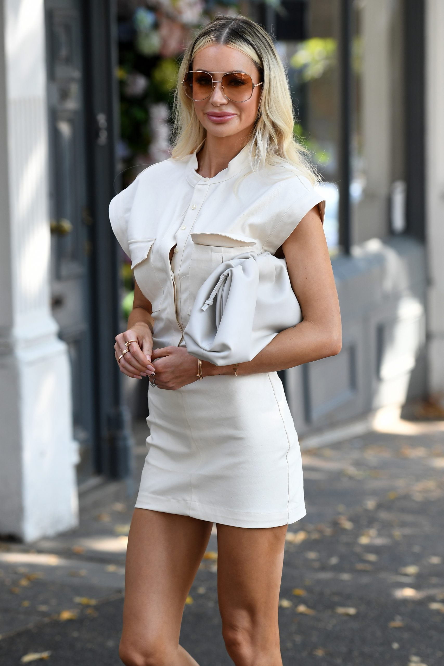 Olivia Attwood 2020 : Olivia Attwood – Leggy in white dress while out in London-15