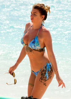 Olivia Buckland in Blue Bikini in Barbados