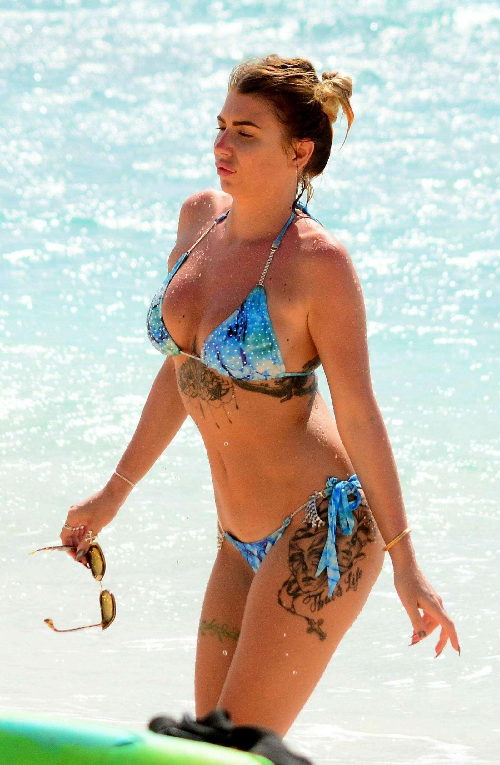 Olivia Buckland in Blue Bikini in Barbados