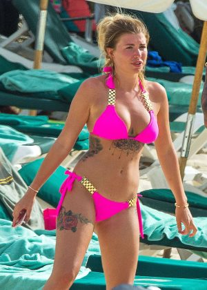 Olivia Buckland in Pink Bikini in Barbados