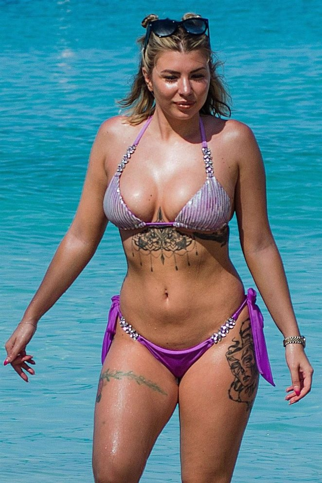 Olivia Buckland in Purple Bikini on the beach in Barbados Maret 2018
