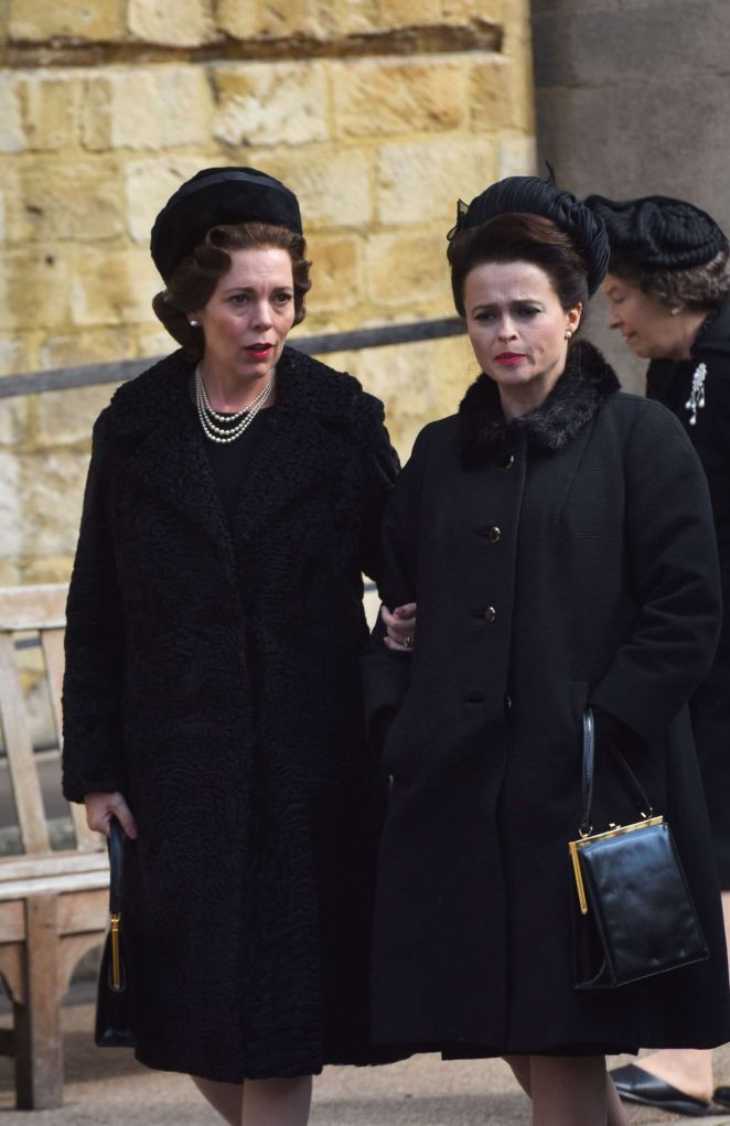 Olivia Colman and Helena Bonham Carter - On the set of 'The Crown' in Wincester