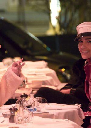 Olivia Culpo and Cara Santana at Restaurant L'Avenue in Paris