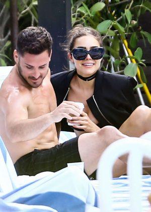 Olivia Culpo and Danny Amendola at the pool in Miami