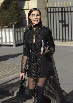 Olivia Culpo in Black Dress - Out and about in Paris