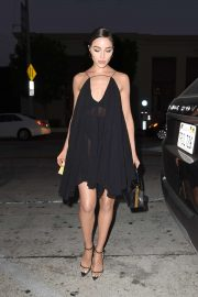 Olivia Culpo in Black Dress - Outside the Catch Restaurant in Los Angeles