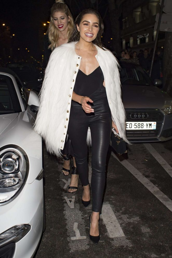 Olivia Culpo in Black Leather night out in Paris