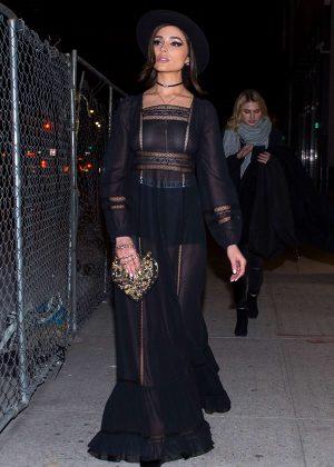 Olivia Culpo in Black Long Dress in New York City