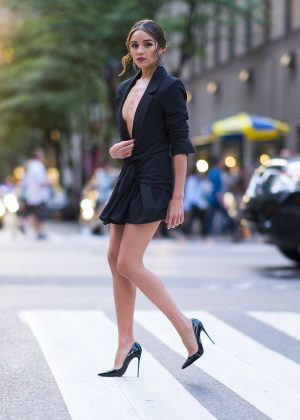 Olivia Culpo in Black Mini Dress - Out and about in New York