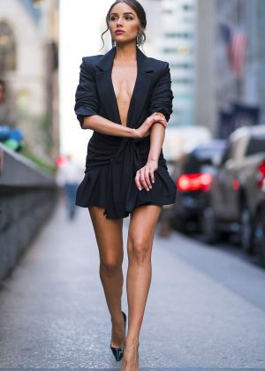 Olivia Culpo In Black Mini Dress Out And About In New