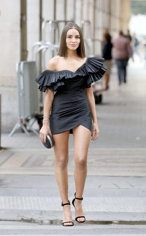 Olivia Culpo in Black Mini Dress - Out in Paris