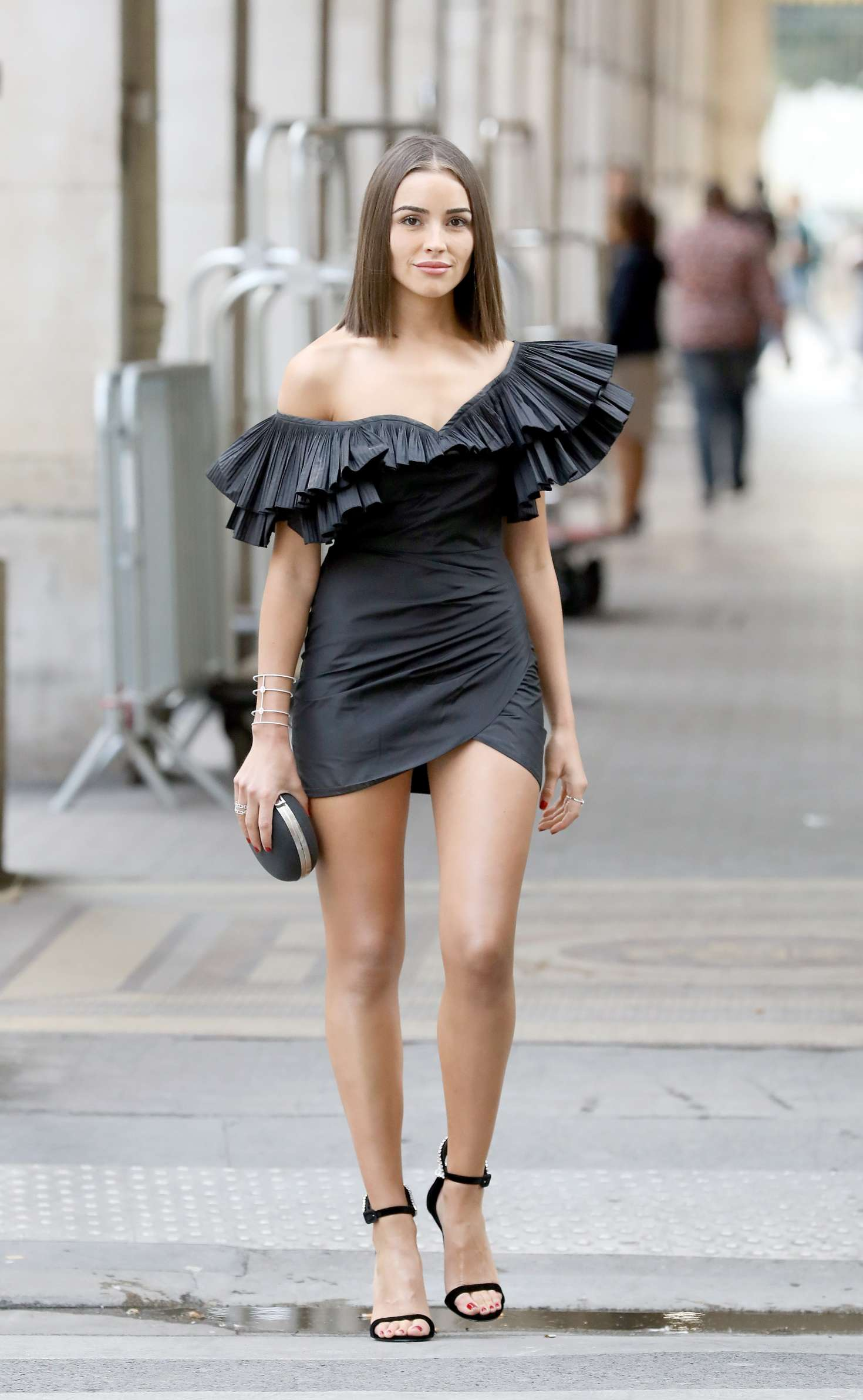 Olivia Culpo in Black Mini Dress - Out in Paris