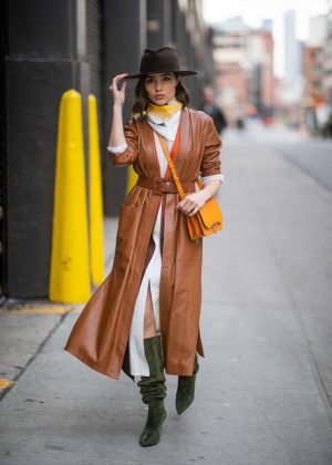 Olivia Culpo in Brown Leather Coat - Out in New York