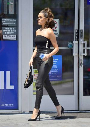 Olivia Culpo in Leather at a gas station in LA