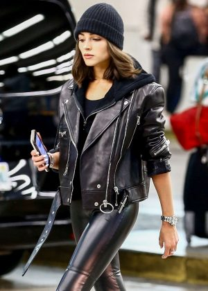 Olivia Culpo in Leather Pants - Arrives in Miami