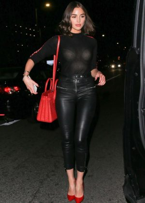 Olivia Culpo in Leather Pants at The Ivy Restaurant in Los Angeles