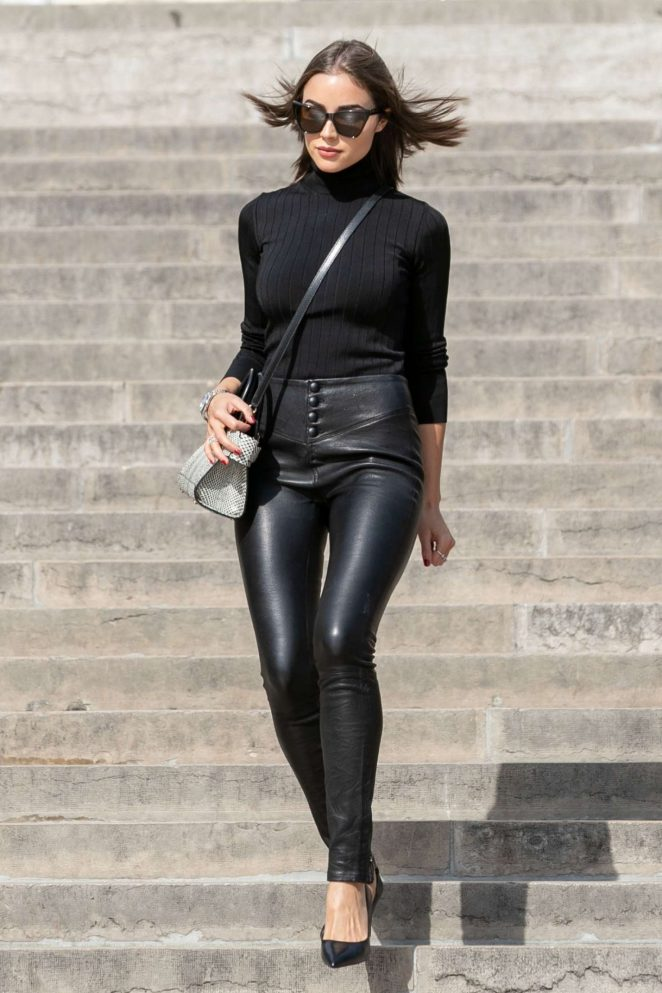 Olivia Culpo in Leather Pants at Trocadero Plaza in Paris