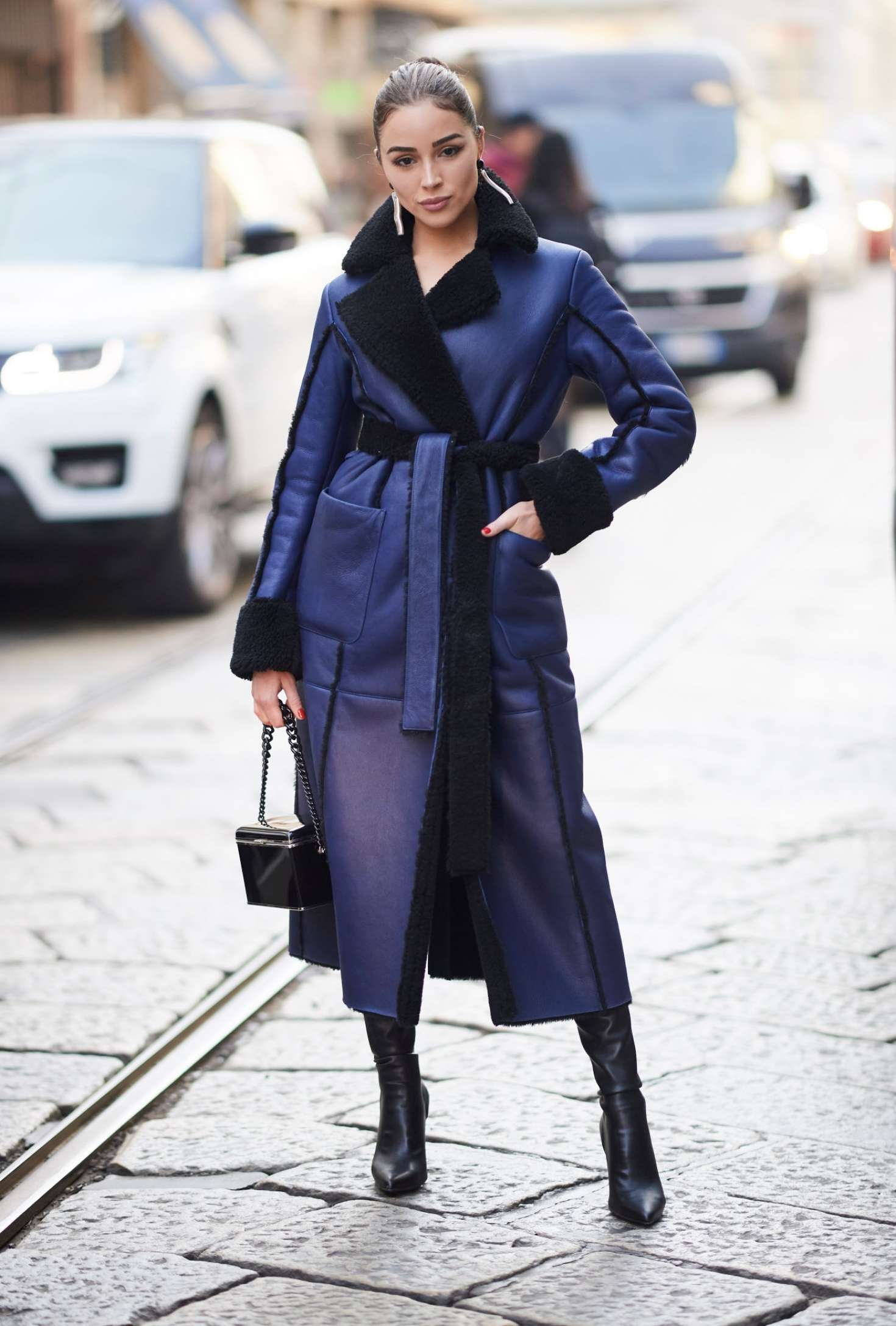 Olivia Culpo in Long Coat - Out in Milan