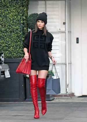 Olivia Culpo in Mini Dress and Red Boots - Shopping at Epione in Beverly Hills
