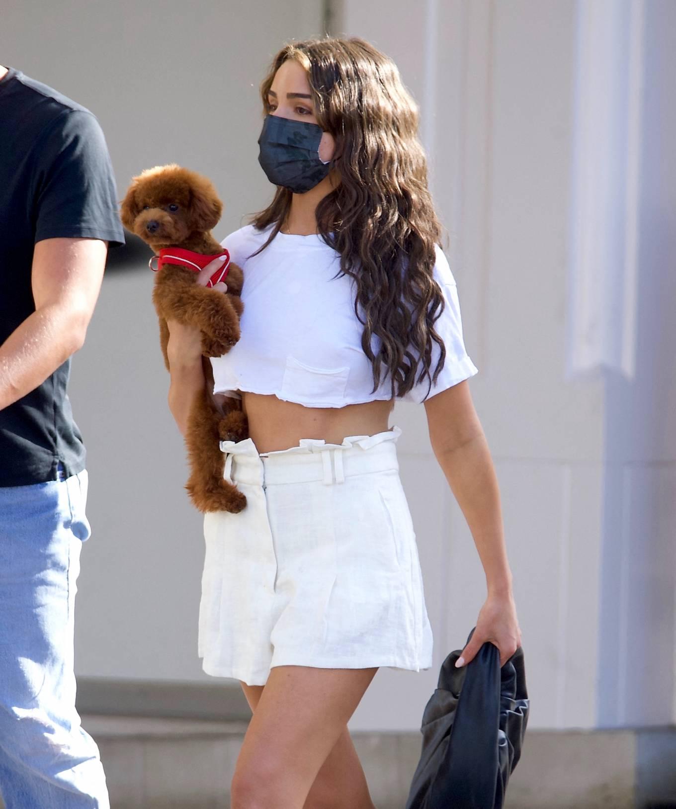 Olivia Culpo 2021 : Olivia Culpo – In mini skirt shopping in Beverly Hills-02