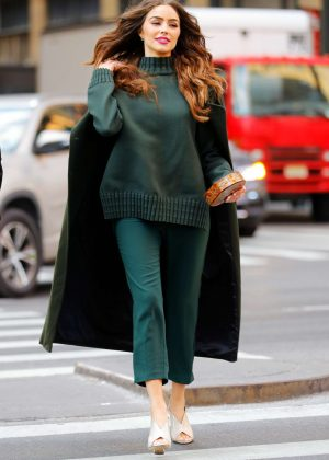 Olivia Culpo in Olive Green Outfit out in Manhattan