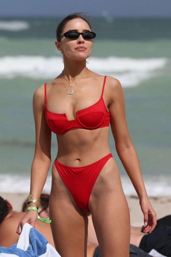 Olivia Culpo in Red Bikini at a beach in St Barth