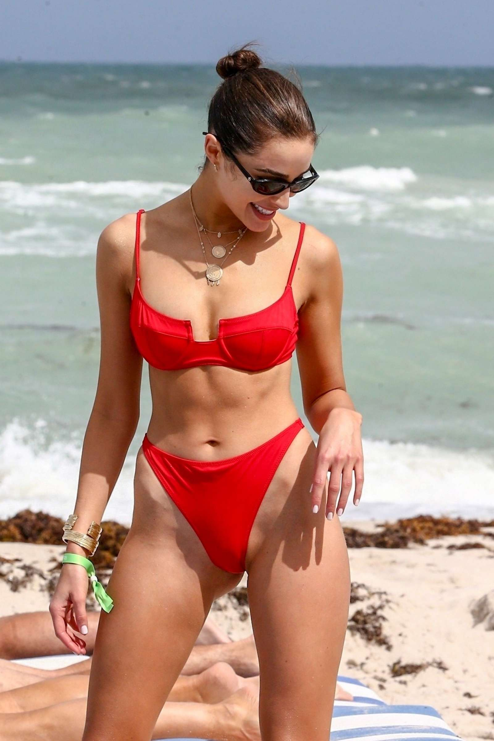 Olivia Culpo in Red Bikini on the beach in Miami
