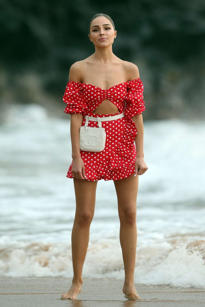 Olivia Culpo in Red Mini Dress -20