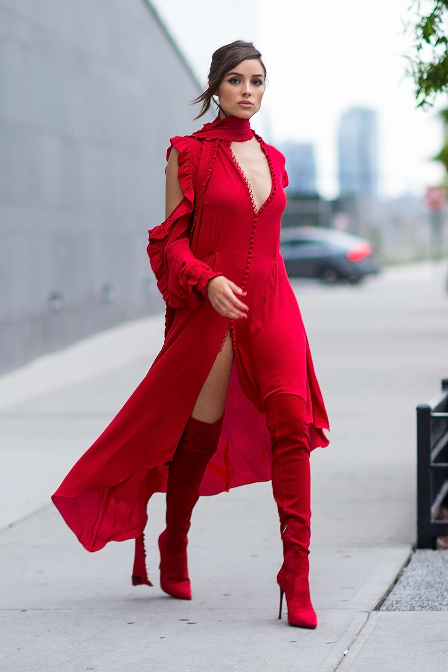 Olivia Culpo in Red Outfit in NYC