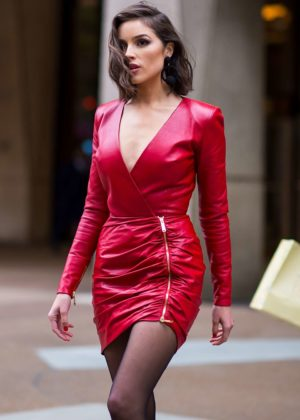 Olivia Culpo in Short Red Dress - Out in NYC