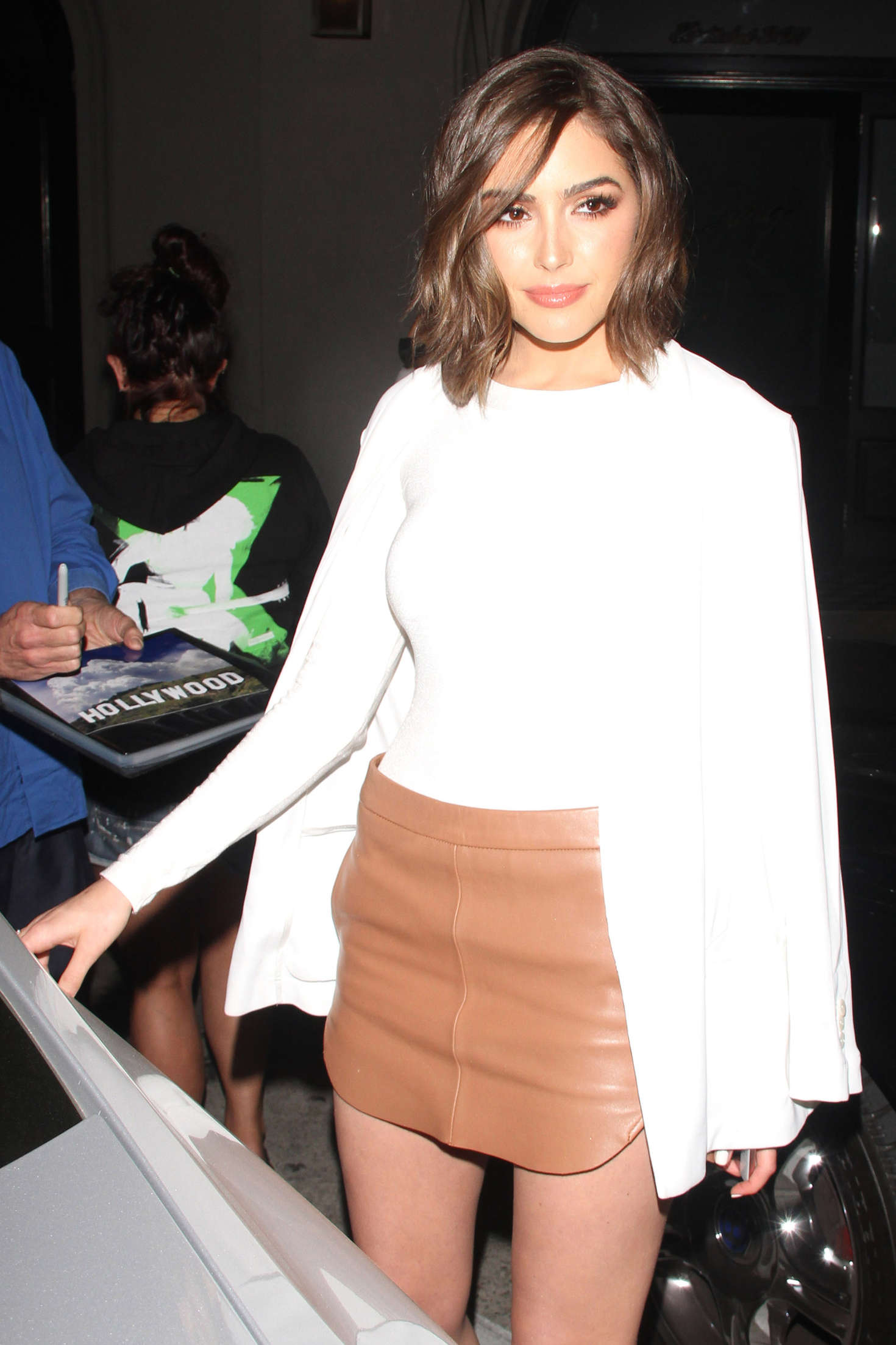 Olivia Culpo in Short Skirt at Craig's Restaurant in West Hollywood