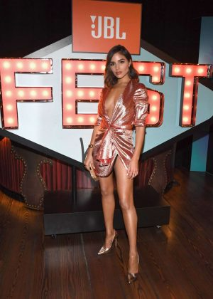 Olivia Culpo - In Silver Dress hosts JBL Fest 2018 in Las Vegas