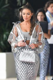 Olivia Culpo in Silver Dress - Out in Miami Beach