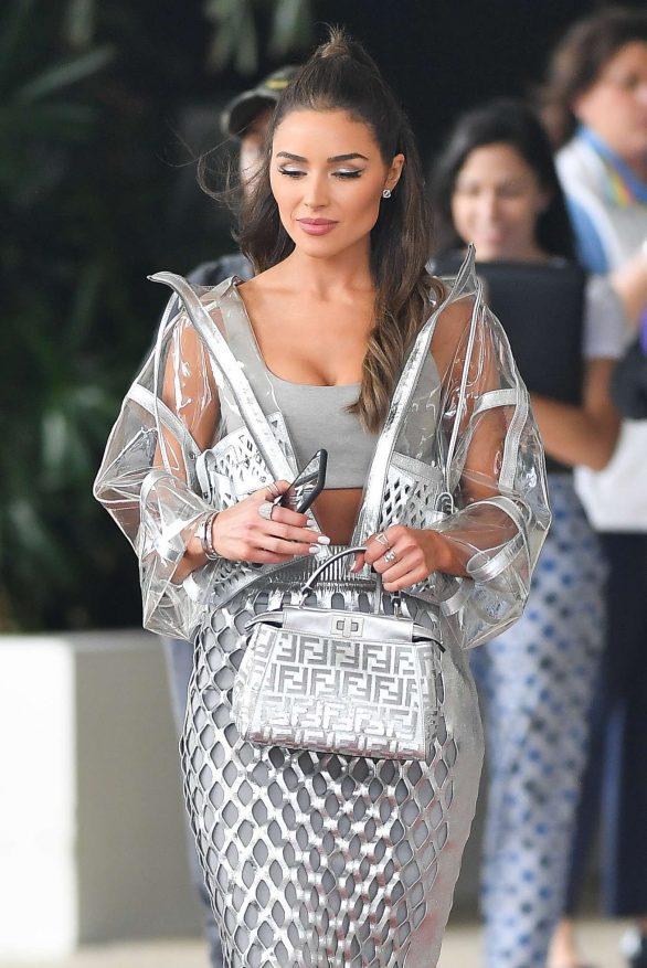 Olivia Culpo in Silver Dress - Out in Miami Beach