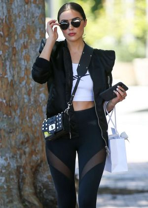 Olivia Culpo in Tights on Melrose Place in West Hollywood