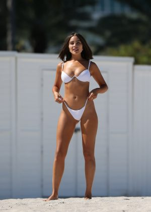 Olivia Culpo - In white bikini on the beach in Miami