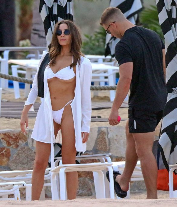 Olivia Culpo in white bikiniwhile on vacation in Mexico