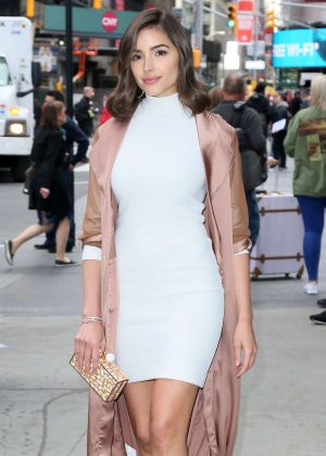 Olivia Culpo in White Mini Dress Out in New York