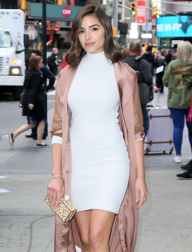Olivia Culpo in White Mini Dress Out in New York