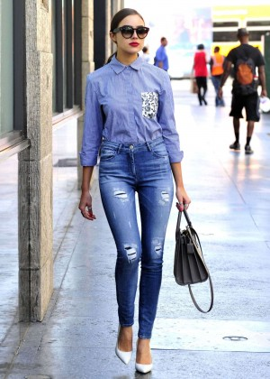 Olivia Culpo in Skinny Jeans Out in West Hollywood