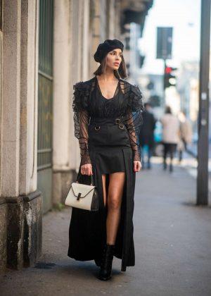 Olivia Culpo - Wearing Black Dress in Milan