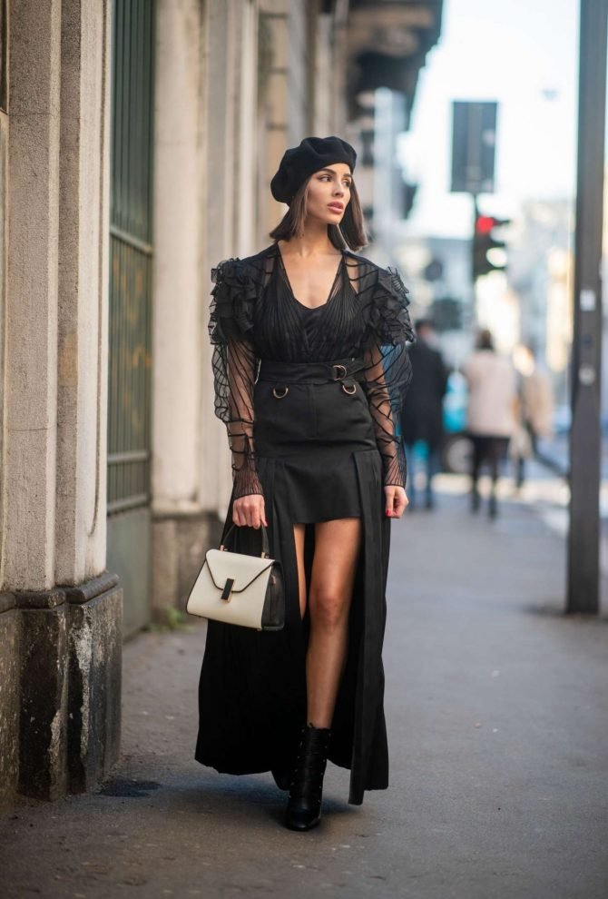 Olivia Culpo – Wearing Black Dress in Milan