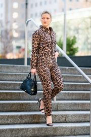 Olivia Holt in Animal Print - Out in NYC