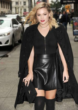 Olivia Holt in Mini Leather Skirt out in New York City