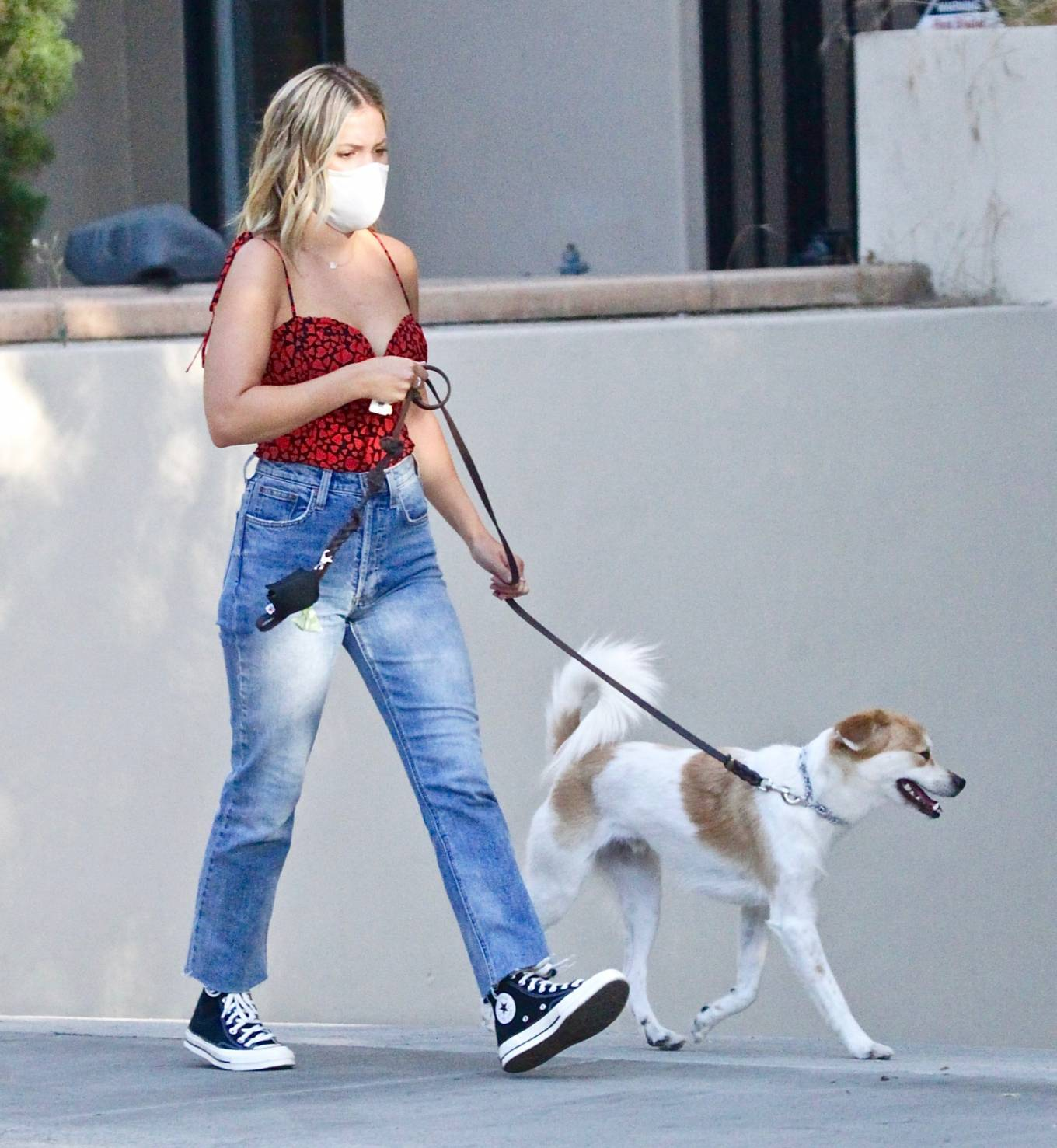Olivia Holt - Out for a dog walk in Studio City