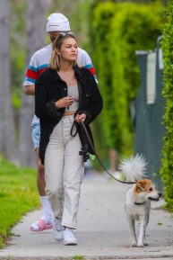 Olivia Holt - Walks her dog with a mystery friend in Los Angeles